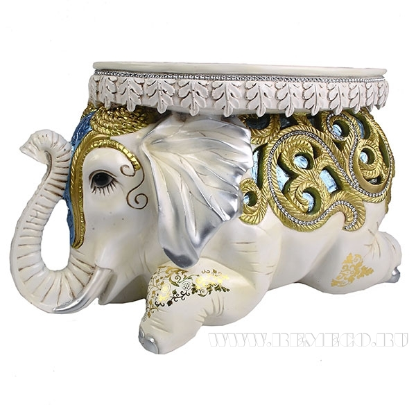 Изделие декоративное Слон(голубые вставки)L55W22H32см оптом