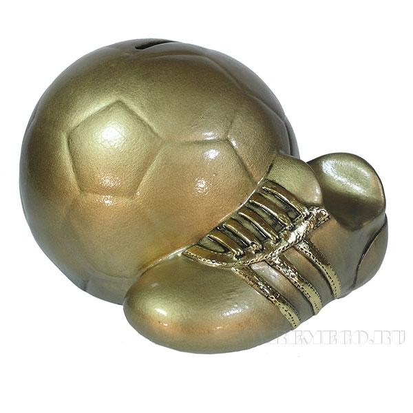 Копилка Мяч с бутсой (цвет золото)L17W14H13см оптом