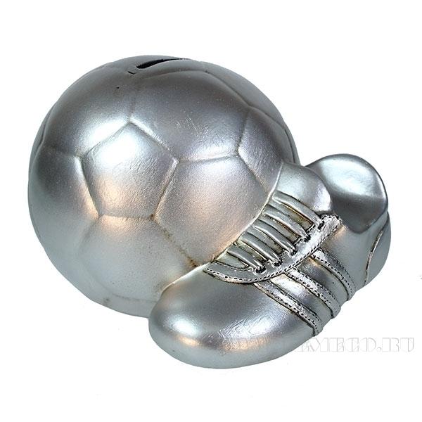 Копилка Мяч с бутсой (цвет серебро)L17W14H13см оптом