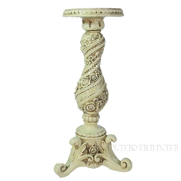 Изделие декоративное Подсвечник с цветами (цвет слоновая кость) L13W13H28см оптом