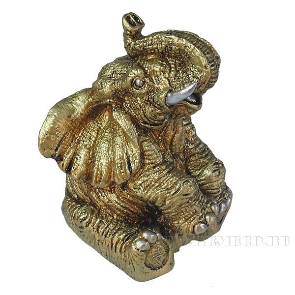 Фигура декоративная Слон (цвет золото) L10W9H13.5см оптом