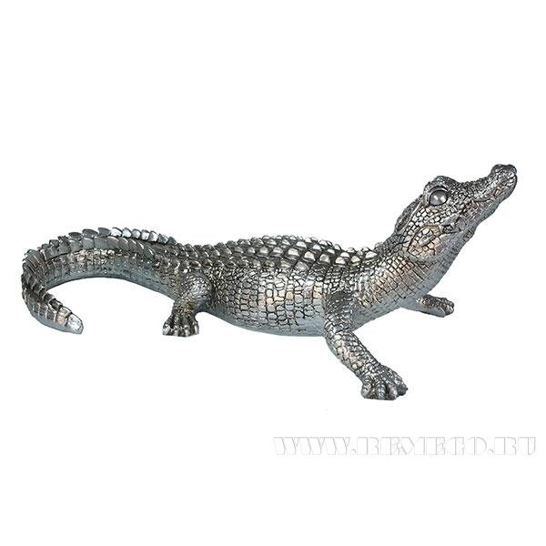 Фигура декоративная Кайман (цвет серебро) L34W18H12,5см оптом