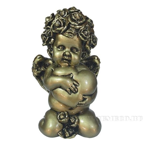 Фигука декоративная Ангел. Сердечной привязанности (цвет золото)L12W9H19см оптом