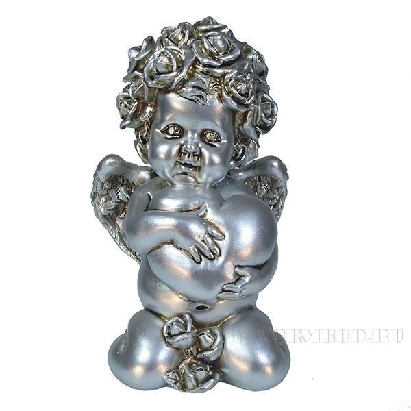 Фигука декоративная Ангел. Сердечной привязанности (цвет серебро)L12W9H19см оптом