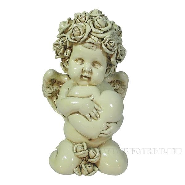 Фигука декоративная Ангел. Сердечной привязанности (цвет слоновая кость)L12W9H19см оптом