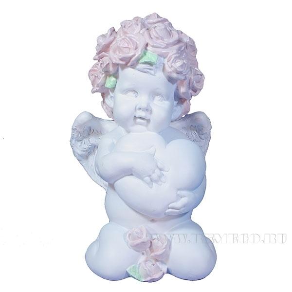 Фигука декоративная Ангел. Сердечной привязанности (цвет белый)L12W9H19см оптом