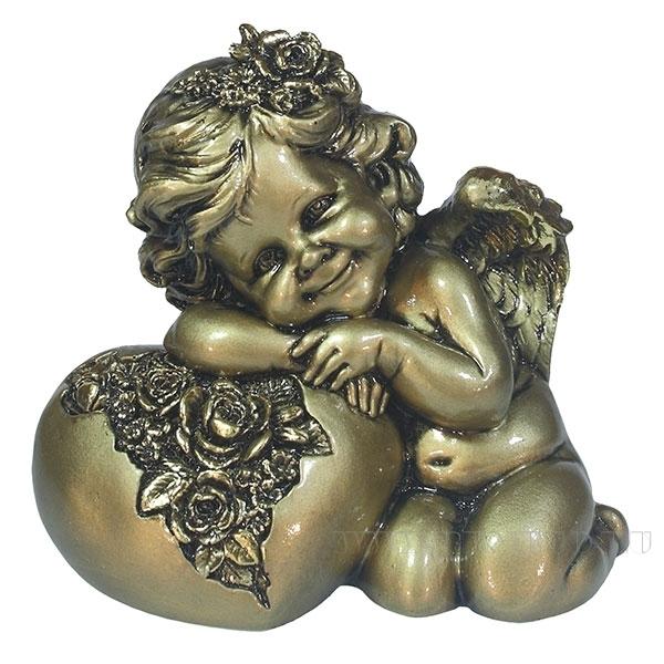 Фигука декоративная Ангел. Сердце роз(цвет золото) L15W9H13см оптом