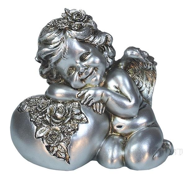 Фигука декоративная Ангел. Сердце роз (цвет серебро) L15W9H13см оптом