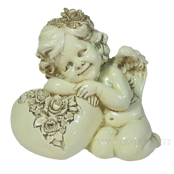 Фигука декоративная Ангел. Сердце роз (цвет слоновая кость) L15W9H13см оптом