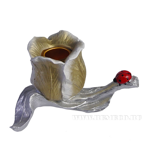 Изделие декоративное Подсвечник Тюльпан с божьей коровкой(цвет золото) L13W9H7,5см оптом