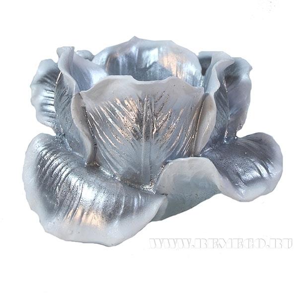 Изделие декоративное Подсвечник Тюльпан (цвет серебро) L11W11H7см оптом