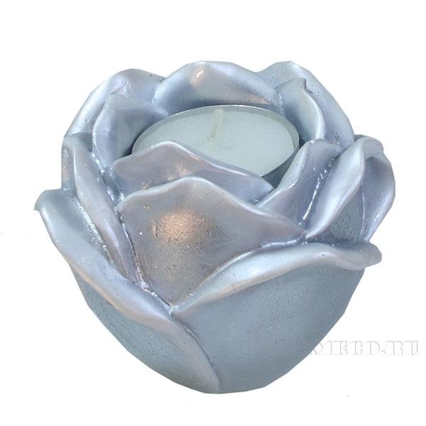 Изделие декоративное Подсвечник Роза(цвет серебро) L9W9H7см оптом