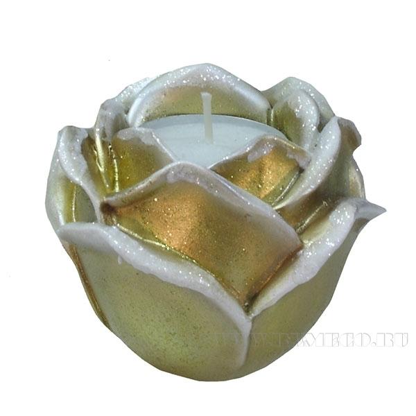 Изделие декоративное Подсвечник Роза(цвет золото) L9W9H7см оптом