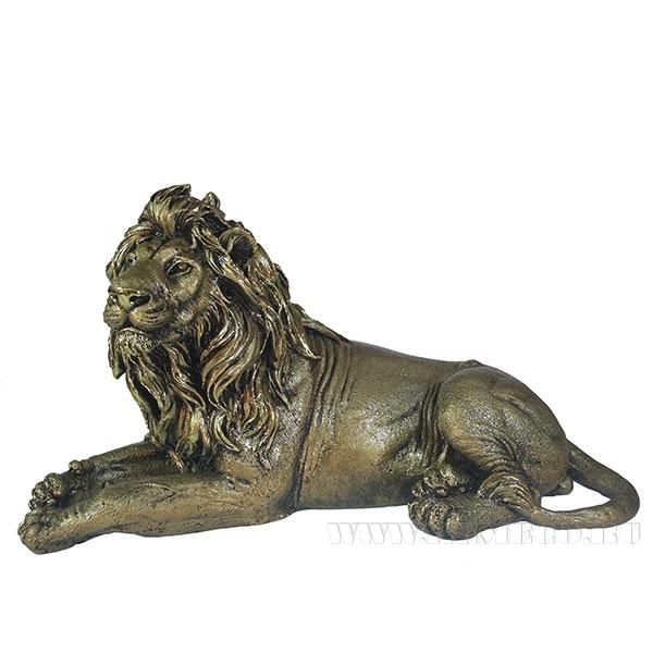 Фигура декоративная Лев(цвет золото) L34W13H19см оптом