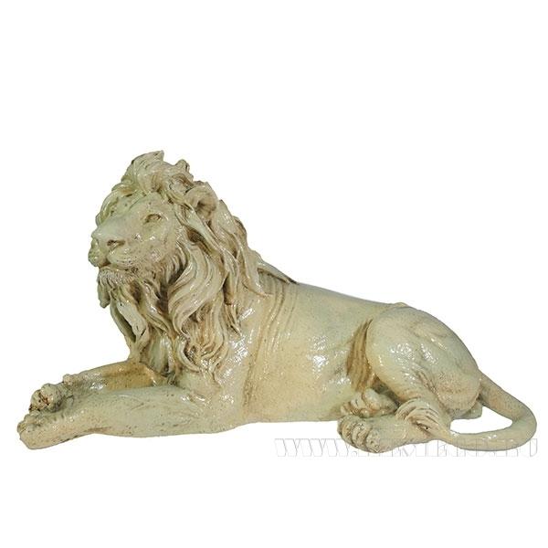 Фигура декоративная Лев (цвет слоновая кость) L34W13H19см оптом
