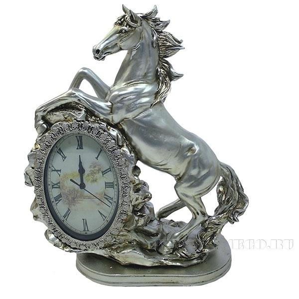 Композиция время Лошадь (цвет серебро) L31W15H40см оптом