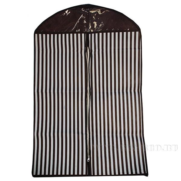 Чехол для одежды, 87*55,5 см, полиэстер, ПВХ, инд пакет с цветным вкладышем оптом