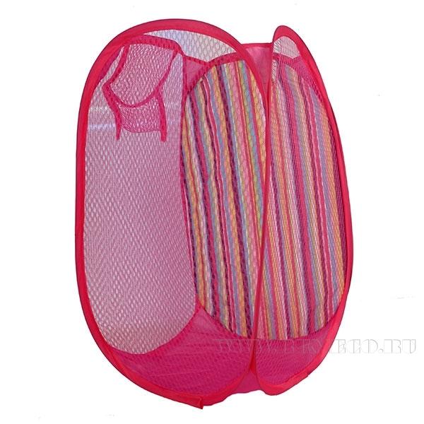 корзина для белья, 30*30*50cm, 3 стороны сетка+1 сторона полиэстер 1шт/пакет+цветной вкладыш,  полиэ оптом