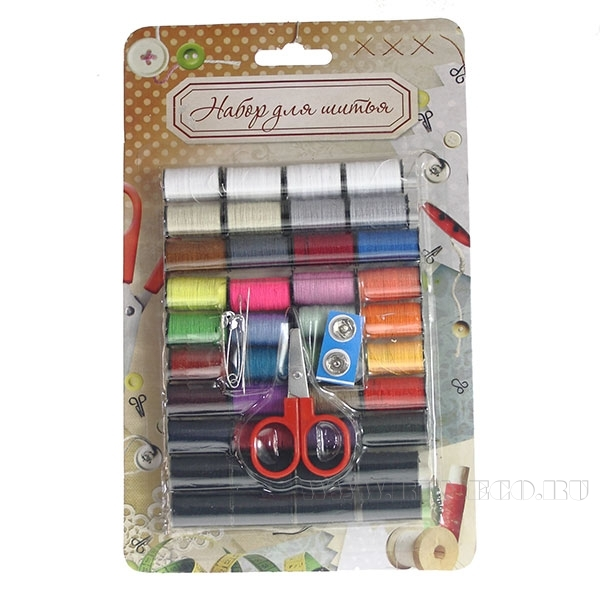 Набор для шитья в блистере(2 иголки,1 ножницы, 2 шт булавок, 2 шт пуговицы, 40 катушек ниток(9 метро оптом