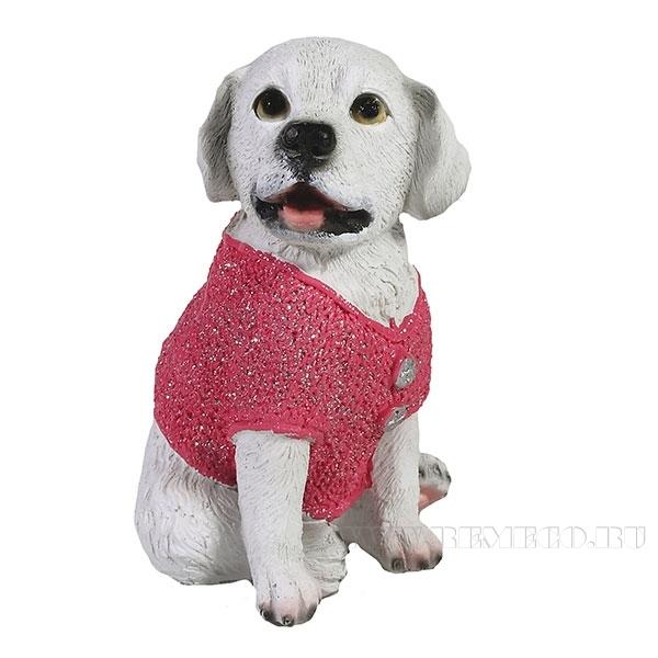 Фигура декоративная Щенок в розовом свитере 10х9,5х14,5 оптом