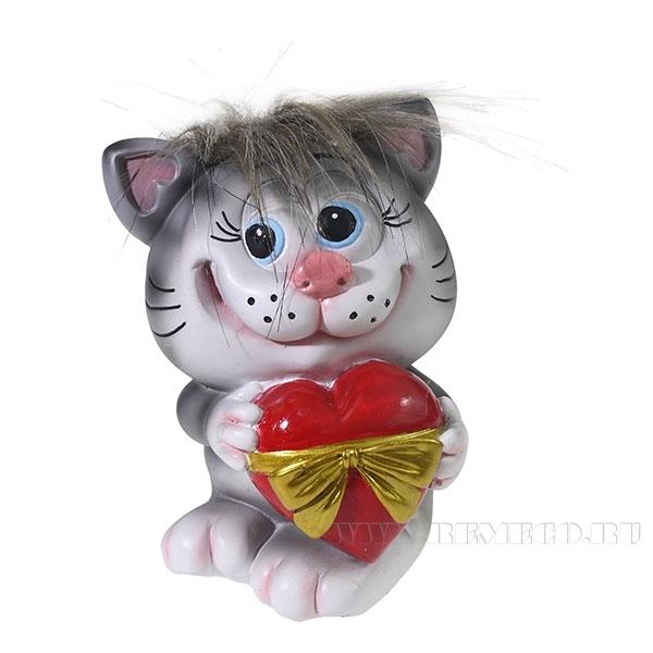 Копилка Котик с сердцем (серый чуб) L9.5W9H13см оптом