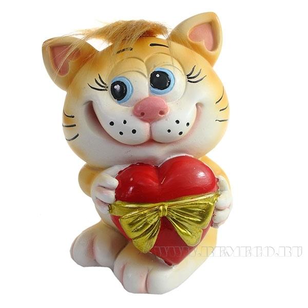 Копилка Котик с сердцем (рыжий чуб) L9.5W9H13см оптом