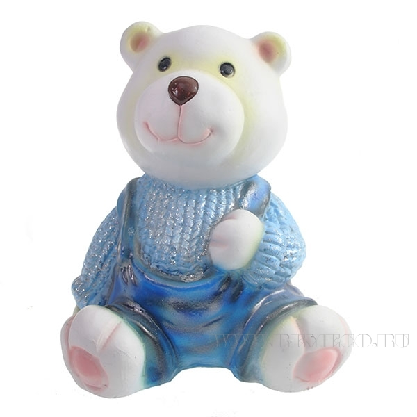 Фигура декоративная Медвежонок в голубом свитере L10W11H14см оптом