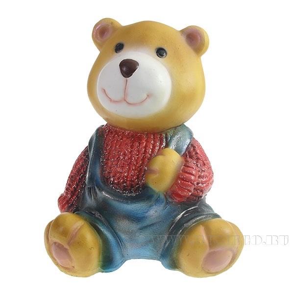 Фигура декоративная Медвежонок в красном свитере L10W11H14см оптом