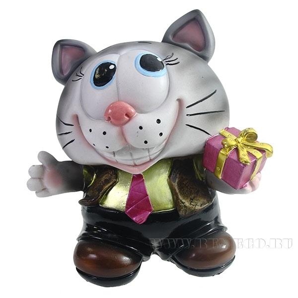 Копилка Котик с подарком (серый)L14W11.5H15.5см оптом