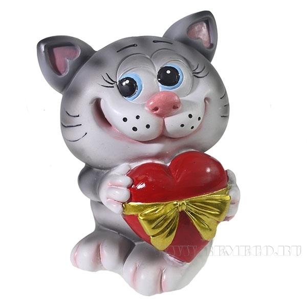 Копилка Котик с сердцем (серый)L9,5W9H13см оптом
