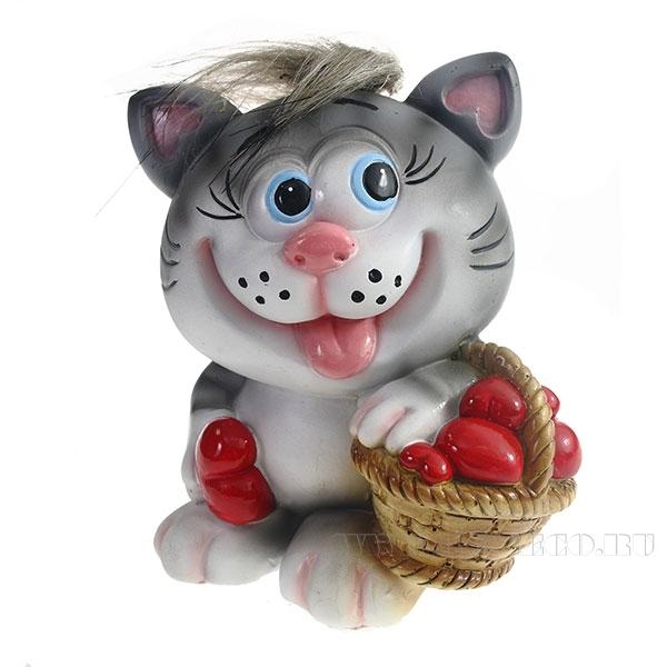 Копилка Котик с корзиной сердец(серый чуб) L11W9.5H13см оптом