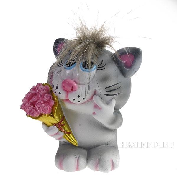 Копилка Влюбленный Котик (серый чуб) L11W9H13см оптом