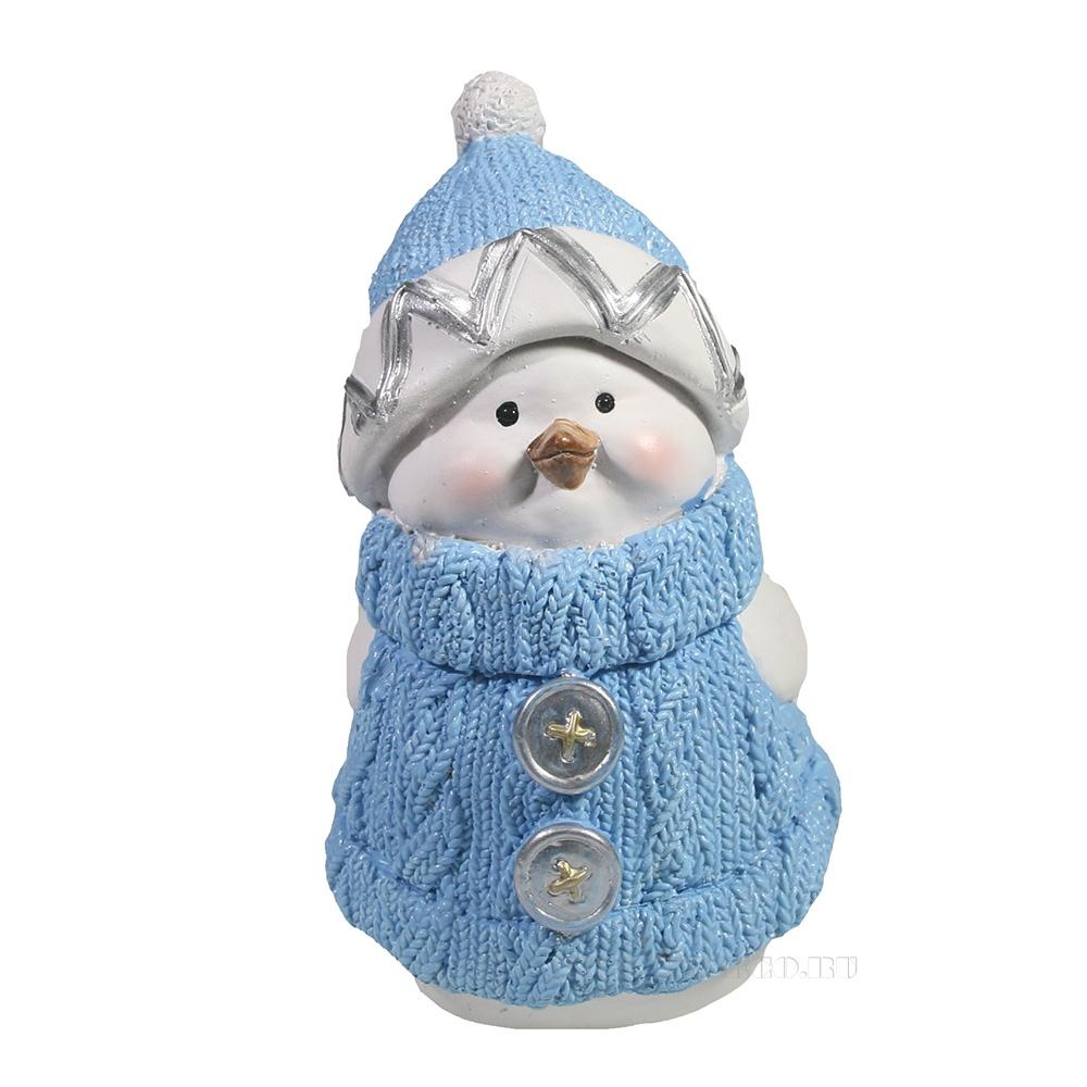 Фигура декоративная Снегирь-мальчик (голубой)L8W10H15см оптом