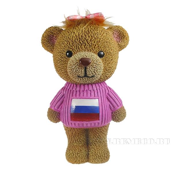 Копилка Плюшевый мишка в свитере с бантиком (флаг)L15W18H28см оптом