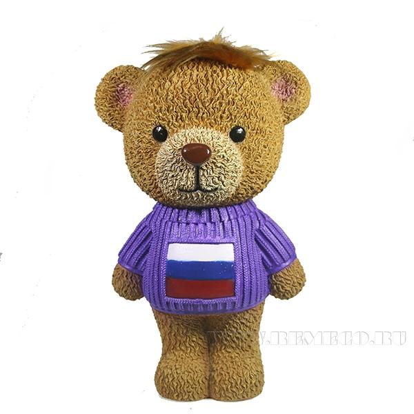Копилка Плюшевый мишка в свитере(флаг)L15W18H28см оптом