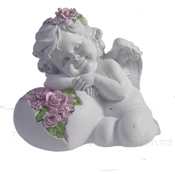 Фигурка декоративная Ангел. Сердце роз (цвет белый) L15W9H13см оптом