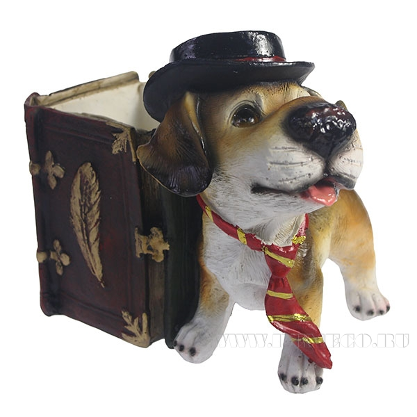 Карандашница Собака в шляпе L12W17H15см оптом