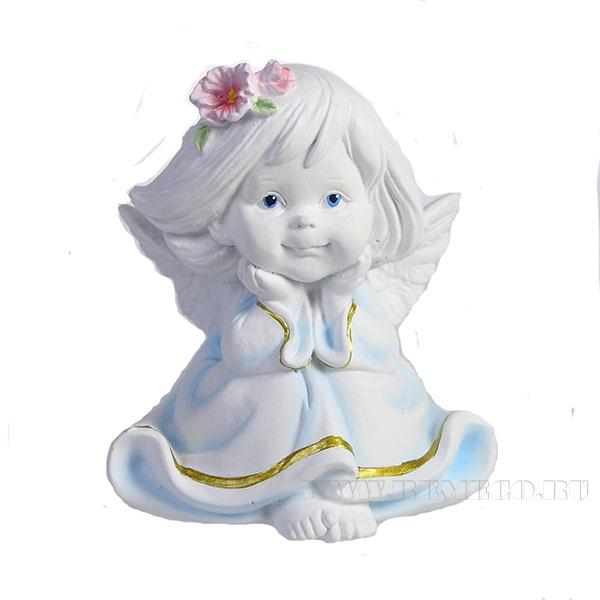 Фигура декоративная Малышка-ангел с цветами в волосах L7W8H9см оптом