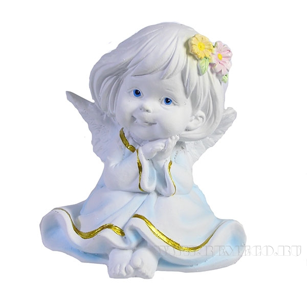 Фигура декоративная Ангел с двумя цветочками в волосах L7W8H9см оптом
