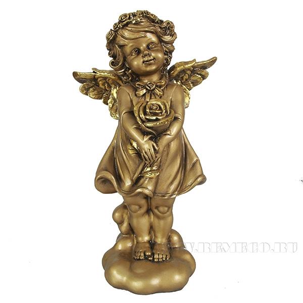 Фигурка декоративная Ангелочек счастья (цвет золото), L14W9,5Н25см оптом