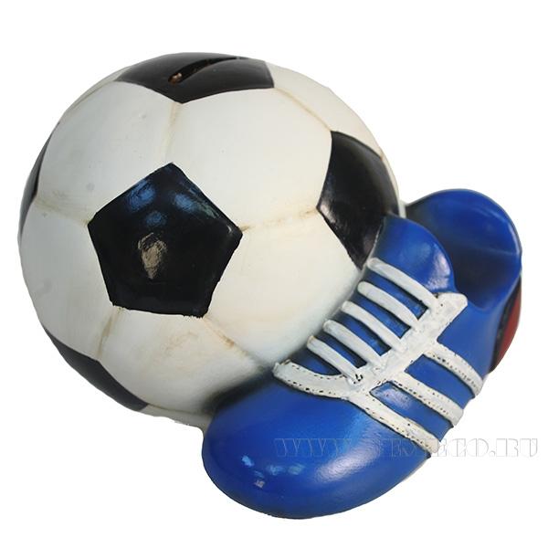 Копилка Мяч с бутсой (цветной)L17W14H13см оптом