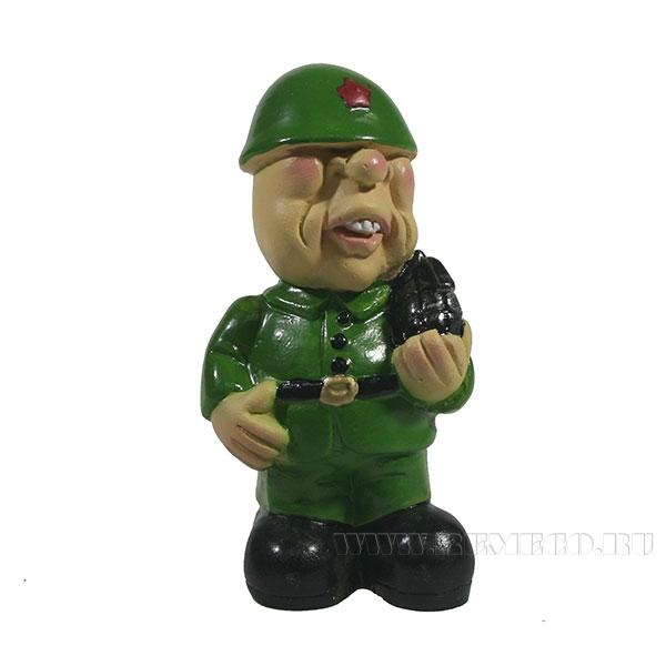 Фигура декоративная Солдат с гранатойL5W4H8см оптом