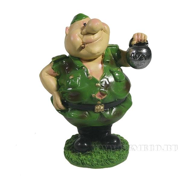 Фигура декоративная Солдат с гирей L5,5W5H9,5см оптом