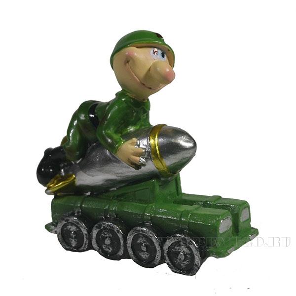 Фигура декоративная Солдат на ракетеL7W4H8см оптом