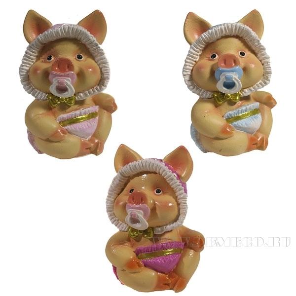 Фигура декоративная Свинка Няша , L6.5W5H9.5, 3 в. оптом