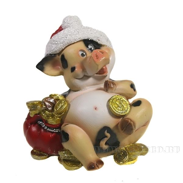 Фигура декоративная Свин Толстячок L10W10H12 оптом