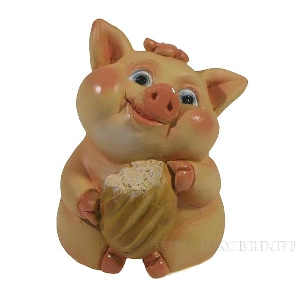 Фигура декоративная Свинка Булочка L6.5W7H8 оптом