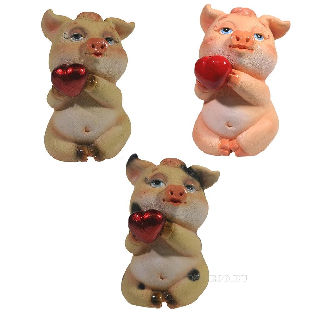 Фигура декоративная Свинка Беллатриса , L6.5W5.5H9, 3в. оптом