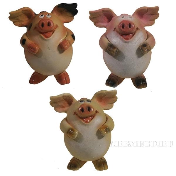 Фигура декоративная Свинка Мишелька , L6.5W6H7.5, 3в. оптом