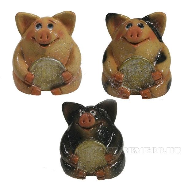 Фигура декоративная Свинка рубль бережет , L4.5W5H5, 3в. оптом
